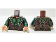 Part No: 973pb1544c01  Name: Torso LotR Elven Coat with Green and Dark Green Leaves with Gold Dots Pattern / Dark Green Arms / Light Flesh Hands