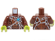 Part No: 973pb1634c01  Name: Torso Chima Bare Chest with Spider Web and Blue Round Jewel (Chi) Pattern / Reddish Brown Arms / Lime Hands