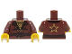 Part No: 973pb1829c01  Name: Torso Ninjago Robe with Open Shirt Collar, Belt, Gold Chain with Star Pendant and Gold Star on Back Pattern / Reddish Brown Arms / Yellow Hands