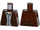 Part No: 973pb2053  Name: Torso Leather Vest Zipper Pockets, Light Bluish Gray Button Down Shirt, Knife on Reverse Pattern