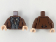 Part No: 973pb3347c01  Name: Torso Harry Potter Suit, Dark Bluish Gray Vest, Dark Brown Ascot, Tan Shirt Pattern / Reddish Brown Arms / Light Flesh Hands