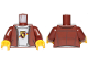 Part No: 973pb3707c01  Name: Torso Speed Champions Jacket with Zipper, White Shirt and Porsche Logo Pattern / Reddish Brown Arms / Yellow Hands