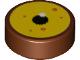 Part No: 98138pb110  Name: Tile, Round 1 x 1 with Eye with Tan Iris, Black Pupil and Orange Dots Pattern