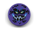 Part No: 14769pb187  Name: Tile, Round 2 x 2 with Bottom Stud Holder with Black Rock Teeth and Spots, Narrowed Yellow Eyes, Blue Electrified Evil Smile (Bouldron) Pattern