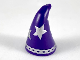 Part No: 17349pb03  Name: Minifigure, Headgear Hat, Cone Drooping, Wizard with Large Silver Stars and Rim Pattern
