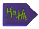 Part No: 22385pb195L  Name: Tile, Modified 2 x 3 Pentagonal with Lime 'Ha HA' Pattern Model Left Side (Sticker) - Set 76159