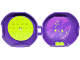 Part No: 29632c08pb01  Name: Container, Pod with Lime 6 x 6 Round Plate and Lime 1 x 2 Plate with Friends Pattern (Stickers) - Set 853777