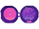 Part No: 29632c09pb01  Name: Container, Pod with Dark Pink 6 x 6 Round Plate and Dark Pink 1 x 2 Plate with Friends Pattern (Stickers) - Set 853774