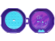 Part No: 29632c10pb01  Name: Container, Pod with Medium Azure 6 x 6 Round Plate and Medium Azure 1 x 2 Plate with Friends Pattern (Stickers) - Set 853778