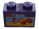 Part No: 3004pb220  Name: Brick 1 x 2 with White 'Friends', Red Car and Minifigure Silhouette on Beach Pattern (Sticker) - Set 40305