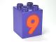 Part No: 31110pb081  Name: Duplo, Brick 2 x 2 x 2 with Number 9 Orange Pattern