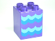 Part No: 31110pb083  Name: Duplo, Brick 2 x 2 x 2 with Blue Waves Pattern