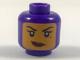 Part No: 3626cpb1982  Name: Minifigure, Head Female Balaclava with Medium Dark Flesh Face, Beauty Mark, Crooked Smile Pattern - Hollow Stud
