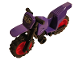 Part No: 50860c08pb01  Name: Motorcycle Dirt Bike with Black Chassis (Long Fairing Mounts) and Red Wheels with White Samurai Head Pattern (Sticker) - Set 70641