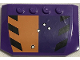 Part No: 52031pb116  Name: Wedge 4 x 6 x 2/3 Triple Curved with Bullet Holes and Black Stripes on Orange and Dark Purple Background Pattern (Sticker) - Set 6864