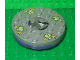 Part No: 92549c07pb01  Name: Turntable 6 x 6 Round Base with Flat Silver Top and Glow In Dark Opaque Skulls on Yellow Pattern (Ninjago Spinner)