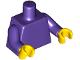 Part No: 973c80  Name: Torso Plain / Dark Purple Arms / Yellow Hands