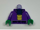 Part No: 973pb0584c01  Name: Torso SW Sweater over Dark Blue Shirt and Large Yellow Belt Pattern / Dark Purple Arms / Green Hands