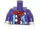 Part No: 973pb0660c02  Name: Torso Blue Suspenders and Red Polka Dot Bow Tie and Buttons Pattern (Clown) / Dark Purple Arms / White Hands