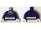 Part No: 973pb1861c01  Name: Torso Muscles Outline with Cape Clasps and White Sash Pattern / Dark Purple Arms / White Hands