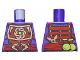 Part No: 973pb1976  Name: Torso Ninjago Copper and Dark Red Samurai Armor, Snake Heads Belt Buckle and Shuriken and Vials on Reverse Pattern