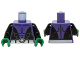 Part No: 973pb2039c01  Name: Torso Batman Muscles Outline, Open Black Shirt and Silver Belt Pattern / Black Arms / Green Hands