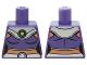 Part No: 973pb2040  Name: Torso Batman Female Outline, Dark Purple Crop Top, Silver Collar and Belt Pattern