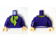 Part No: 973pb2064c01  Name: Torso Female Figure with Black Outlines and Lime Scarf Pattern (Daphne) / Dark Purple Arms / Light Nougat Hands