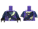 Part No: 973pb2127c01  Name: Torso Ninjago Tattered Robe with Yellowish Green Collar, Dark Blue Strap and Gray Undershirt Pattern / Dark Blue Arms / Black Hands