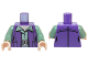 Part No: 973pb2219c01  Name: Torso SW Female Outline Dark Purple Vest over Sand Green Shirt with Collar with Silver Belt Buckle Pattern / Sand Green Arms / Light Flesh Hands