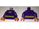 Part No: 973pb2410c01  Name: Torso Batman Muscles Outline with Yellow Killer Moth Logo and Belt Pattern / Dark Purple Arms / Orange Hands