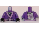 Part No: 973pb2491c01  Name: Torso Ninjago Robe with Medium Lavender Trim and Animal Drawing Pinned to Back Pattern / Dark Purple Arms / Black Hands