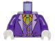 Part No: 973pb2598c01  Name: Torso Batman Suit with Lavender Lapels, Striped Vest, Bright Light Orange Shirt and Bright Green Tie Pattern (Joker) / Dark Purple Arms / White Hands
