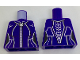 Part No: 973pb2623  Name: Torso Female Outline with Silver Stripes, Cat Zipper and Spine Armor Pattern