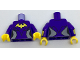 Part No: 973pb2624c01  Name: Torso Female Outline with Yellow Bat and Silver Side Trim Pattern / Dark Purple Arms with Yellow Cuffs Pattern / Yellow Hands