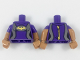 Part No: 973pb2943c01  Name: Torso Female Wetsuit, Flat Silver Sides, Yellow Bat Pattern / Medium Nougat Arms with Dark Purple Short Sleeves Pattern / Medium Nougat Hands