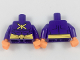 Part No: 973pb2945c01  Name: Torso Batman Muscles Outline with Yellow Killer Moth Logo and Wide Belt Pattern / Dark Purple Arms / Orange Hands