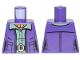 Part No: 973pb3500  Name: Torso SW Female Outline Dark Purple Vest over Sand Green Shirt with Dark Tan Turtleneck Pattern