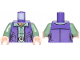 Part No: 973pb3500c01  Name: Torso SW Female Outline Dark Purple Vest over Sand Green Shirt with Dark Tan Turtleneck Pattern / Sand Green Arms / Light Flesh Hands