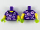 Part No: 973pb3658c01  Name: Torso Female with White and Lavender Flowers Pattern / Yellow Arms with Dark Purple Short Sleeves Pattern / Lime Hands