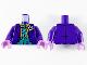 Part No: 973pb3722c01  Name: Torso Batman Suit with Flower, Orange Shirt, Dark Turquoise Vest and Tie with White Dots Pattern (Joker) / Dark Purple Arms / Medium Lavender Hands
