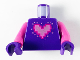 Part No: 973pb3808c01  Name: Torso Metal Pink Pixelated Heart with Bright Pink and Magenta Outlines Pattern / Dark Pink Arms / Dark Purple Hands