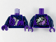 Part No: 973pb4147c01  Name: Torso Tunic with Yellowish Green Hem, Dark Blue Scarf, Belt and Ghost Yin Yang on Back Pattern / Dark Blue Arms / Dark Purple Hands