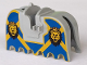 Part No: 2490px4  Name: Horse Barding, Ruffled Edge with Lion Heads and Blue and Yellow Pattern