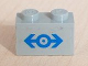 Part No: 3004pb029  Name: Brick 1 x 2 with Train Logo Blue Medium Pattern (Sticker)