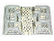 Part No: 30271px4  Name: Baseplate, Raised 32 x 48 x 6 with 4 Corner Pits with Tan and Gray Rock Pattern