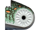 Part No: 40373pb04  Name: Dinosaur Body Quarter with Pin Holes, Set 6722 Pattern - Dark Gray, Sand Green, Medium Orange, and Dark Green Spotted