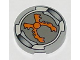 Part No: 4150px9  Name: Tile, Round 2 x 2 with Orange Grabber Pattern