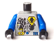 Part No: 973pb0077c01  Name: Torso Space UFO Yellow Insignia & 3 Blue Bars Pattern / Blue Arms / Black Hands