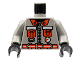 Part No: 973pb0251c01  Name: Torso Fire Shirt with 2 Red Pockets and Red Belt Pattern / Light Gray Arms / Black Hands